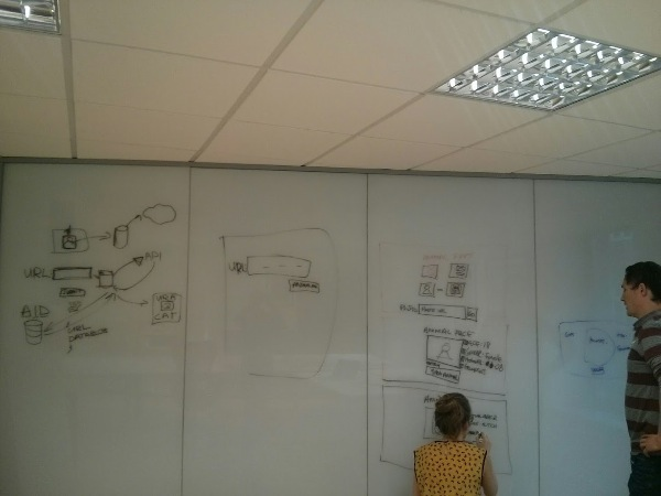 A wall with wireframe sketches on it